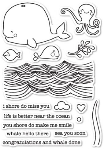 Memory Box Stempelset Whale Hello There Clear Stamp