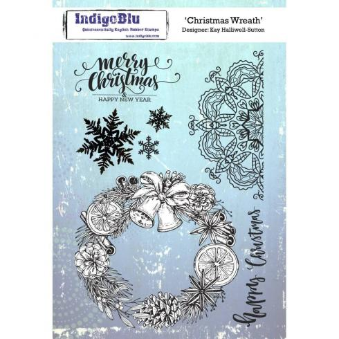 "IndigoBlu ""Christmas Wreath"" A5 Rubber Stamp..."