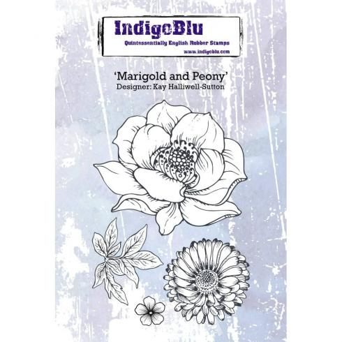 "IndigoBlu ""Marigold and Peony"" A6 Rubber Stamp..."