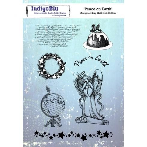 "IndigoBlu ""Peace On Earth"" A5 Rubber Stamp..."