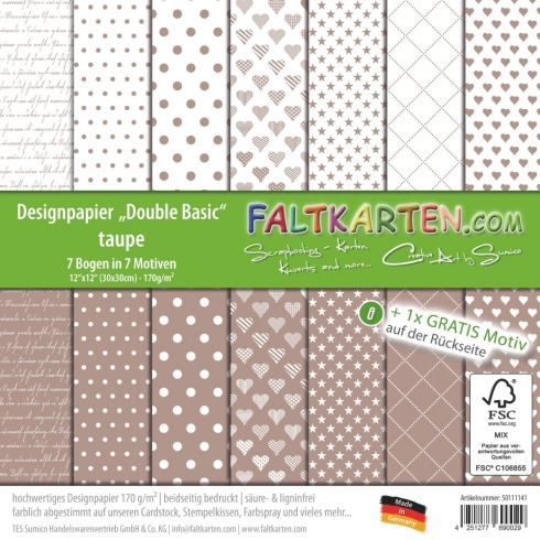"Designpapier 12""x12"" beidseitig ""Double Basic"" in taupe"