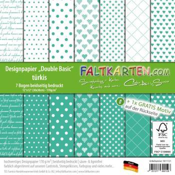 """Designpapier 12""""x12"""" beidseitig """"Double Basic"""" in türkis"""