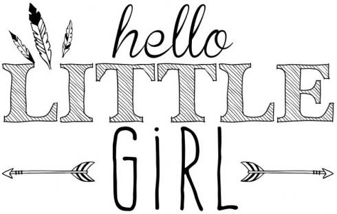 "Aladine Stempel ""Hello Little Girl"" Wooden Stamp - Holzstempel"