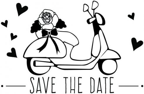 "Aladine Stempel ""Save the Date Scooter"" Wooden Stamp - Holzstempel"