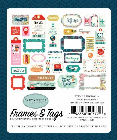 "Carta Bella ""Pack Your Bags"" Ephemera Frames & Tags"