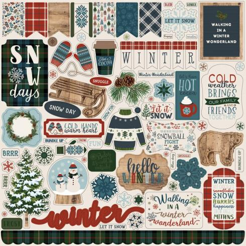 "Carta Bella ""Let It Snow"" 12x12"" Element Stickers..."