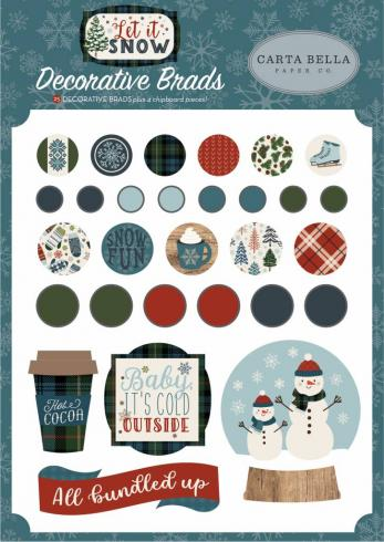 "Carta Bella ""Let It Snow"" Decorative Brads..."