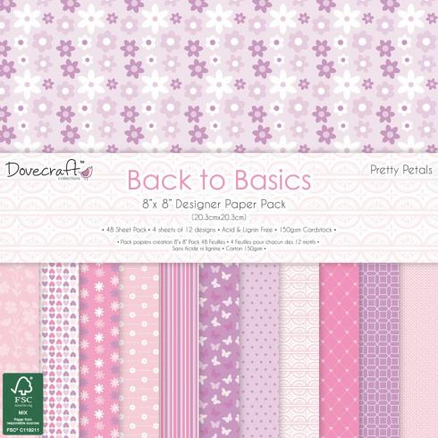 "Dovecraft Paper Pack ""Back to Basics Pretty Petals"" 8x8"""