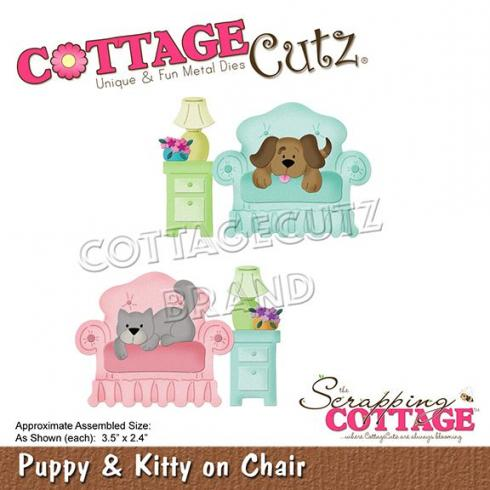Scrapping Cottage Die - Puppy & Kitty On Chair