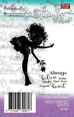 "Polkadoodles Stempel ""Graceful Flower Girl 1 Silhouettes"" Clear Stamp-Set"