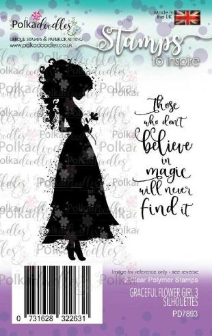 "Polkadoodles Stempel ""Graceful Flower Girl 3 Silhouettes"" Clear Stamp-Set"