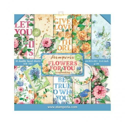 "Stamperia ""Flowers for You"" 8x8"" Paper Pack - Cardstock..."