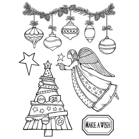 "Stamperia Stempel ""Make A Wish Angel"" Natural Rubber Stamp - (Naturkautschukstempel)..."
