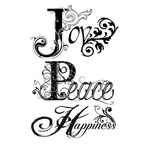 "Stamperia Stempel ""Joy, Peace, Happiness"" Natural Rubber Stamp - (Naturkautschukstempel)..."