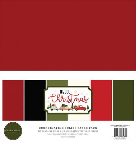 "Carta Bella ""Hello Christmas"" 12x12"" Coordinating Solids Paper Pack"