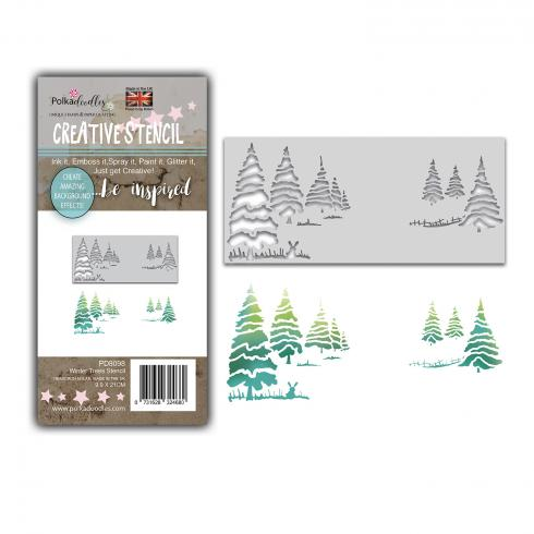 Polkadoodles Stencil Winter Trees Layering - Schablone  (PD8098)