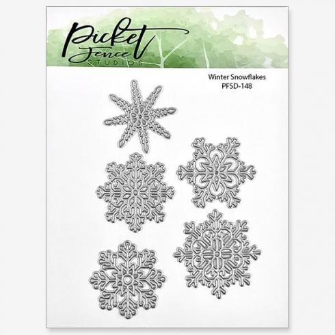Picket Fence Studios Winter Snowflakes 4x4 Inch Metal  Die (PFSD-148)