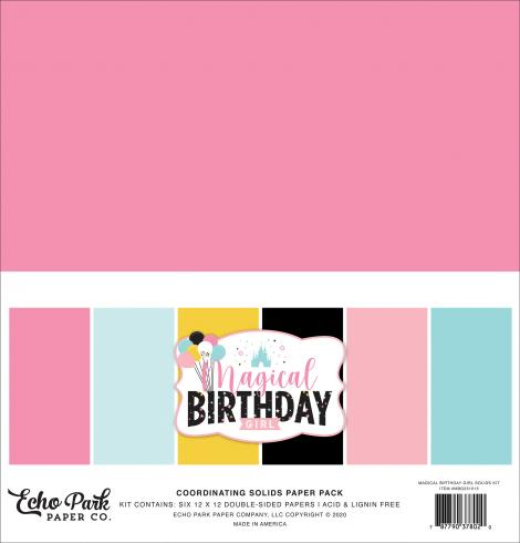 "Echo Park ""Magical Birthday Girl"" 12x12"" Coordinating Solids Paper - Cardstock"