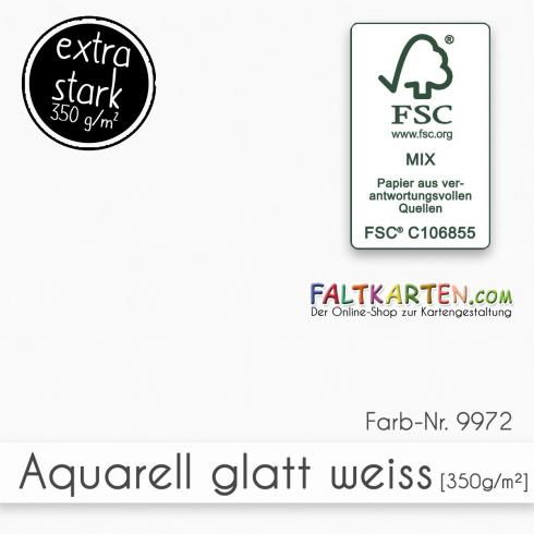 Aquarellpapier glatt 350g/m² DIN A4 in weiss