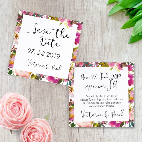 "Save-the-Date Karte ""Pink Bunch"" 10x10cm"