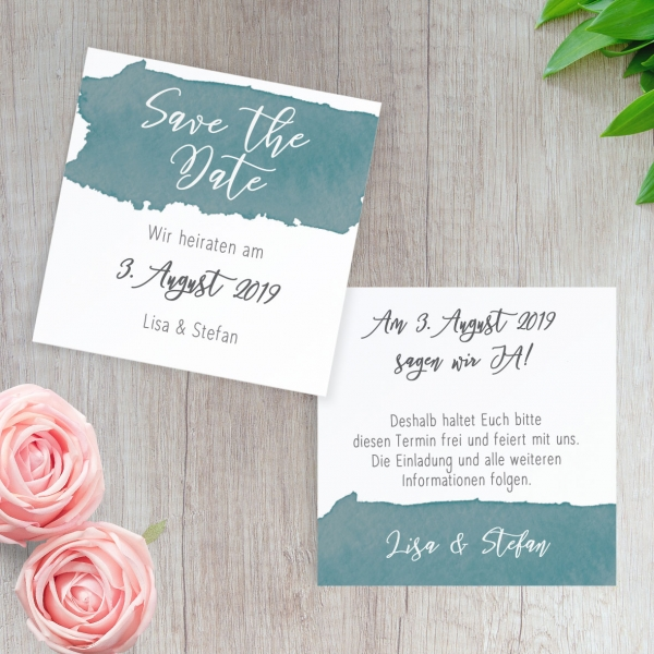 Save The Date Karte.Save The Date Karte Watercolor Brush 10x10cm