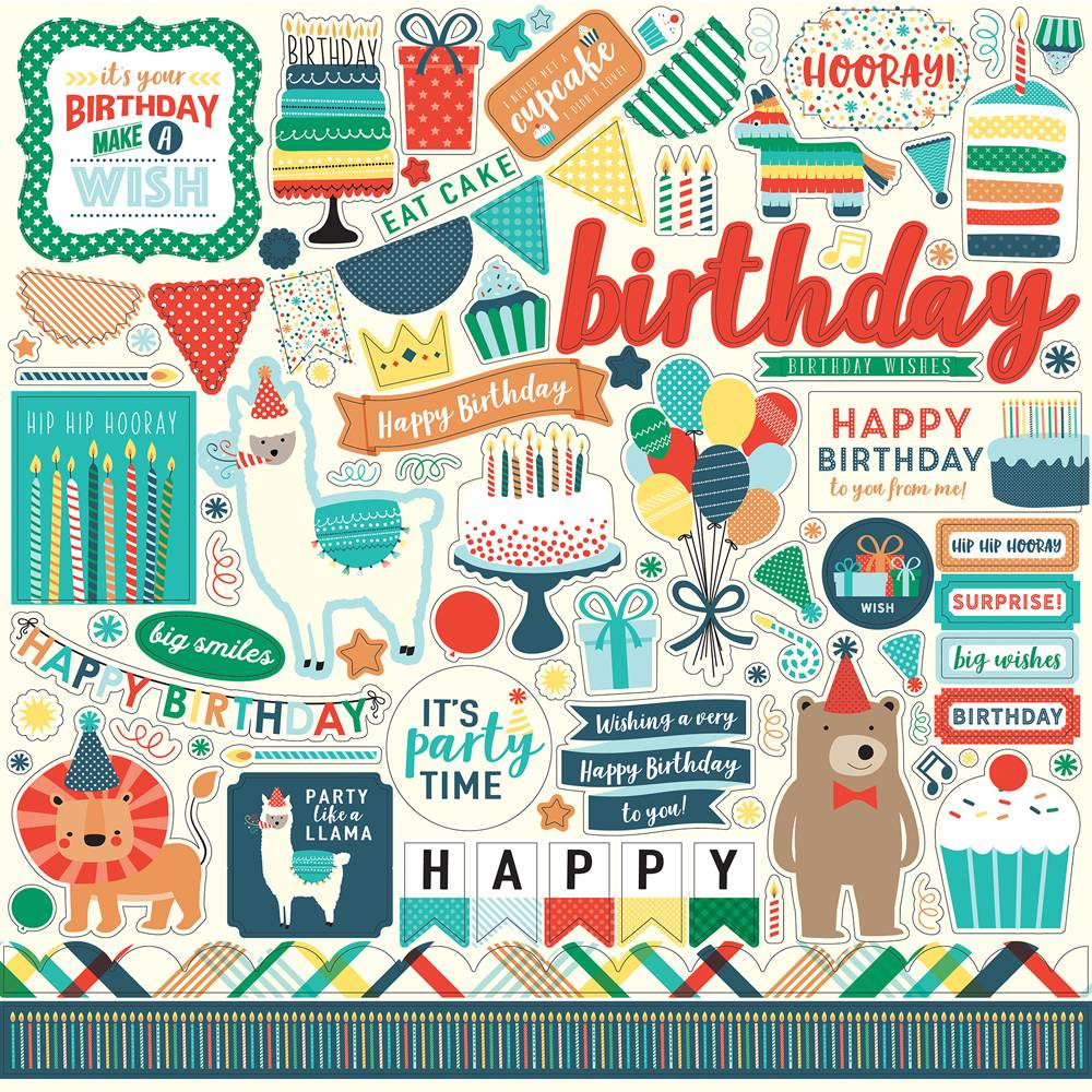 Echo Park Happy Birthday Boy 12x12 Element Stickers