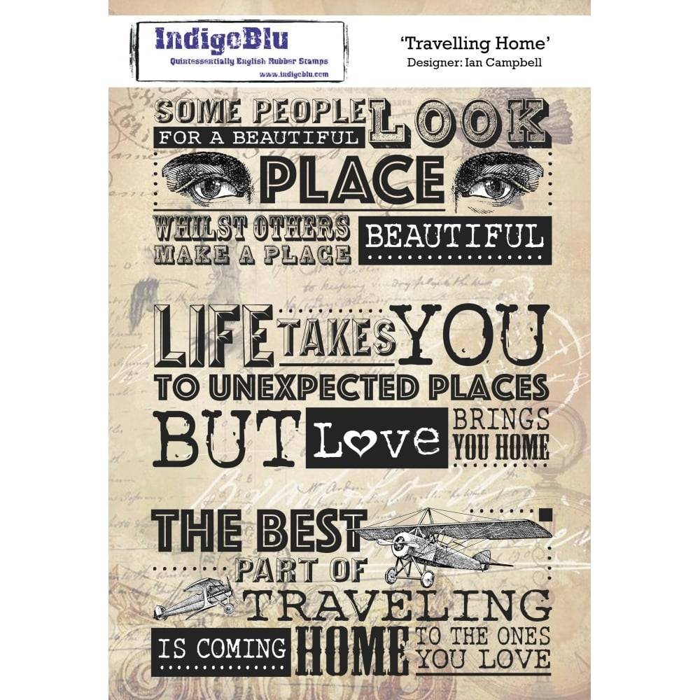 IndigoBlu Travelling Home A5 Rubber Stamp