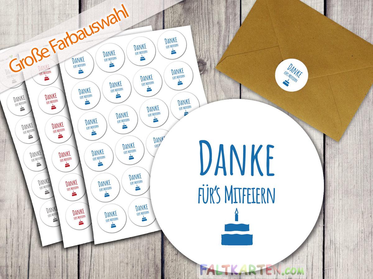 Aufkleber Sticker 24 Stück Danke Fürs Mitfeiern 4cm ø Farbauswahl
